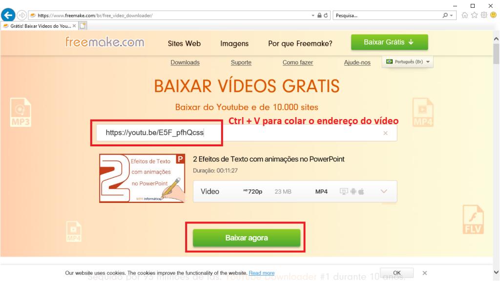 site freemake colando endereço do vídeo